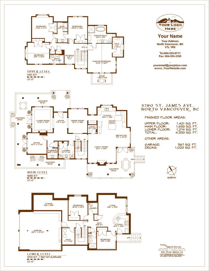 Realtors Floor Plans, TrueSpace Design North Vancouver, BC Sepia ...